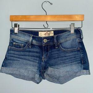 hollister dark wash short shorts